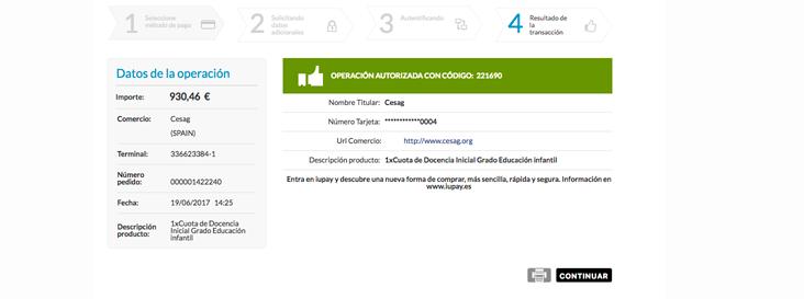 imagen del paso 7 en la guía de ayuda para el pago usando el TPV virtual del CESAG